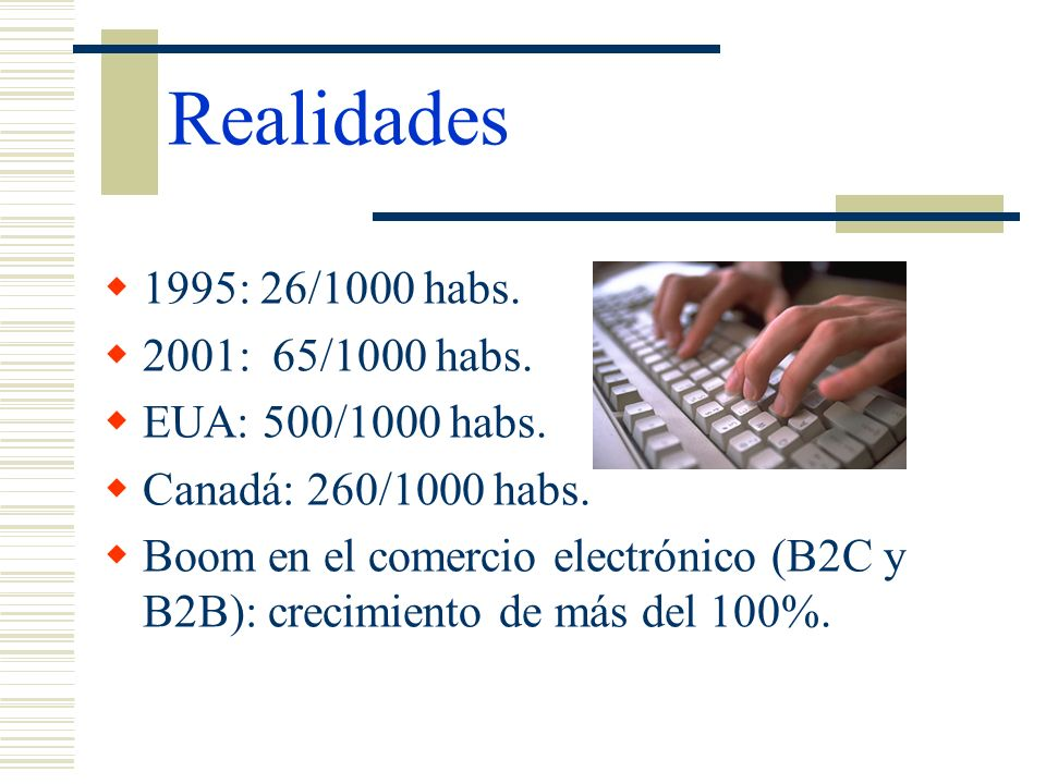Realidades 1995: 26/1000 habs. 2001: 65/1000 habs. EUA: 500/1000 habs.