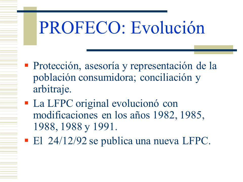 PROFECO: EvoluciónProtección, asesoría y representación de la población consumidora; conciliación y arbitraje.