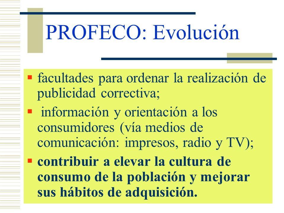 PROFECO: Evoluciónfacultades para ordenar la realización de publicidad correctiva;