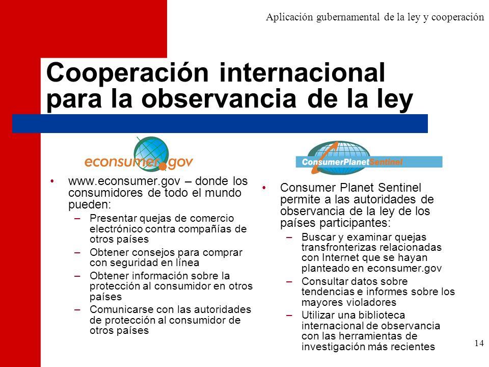 Cooperación internacional para la observancia de la ley