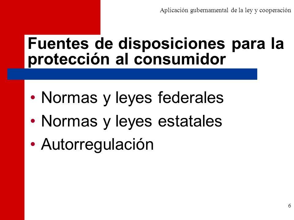 Fuentes de disposiciones para la protección al consumidor