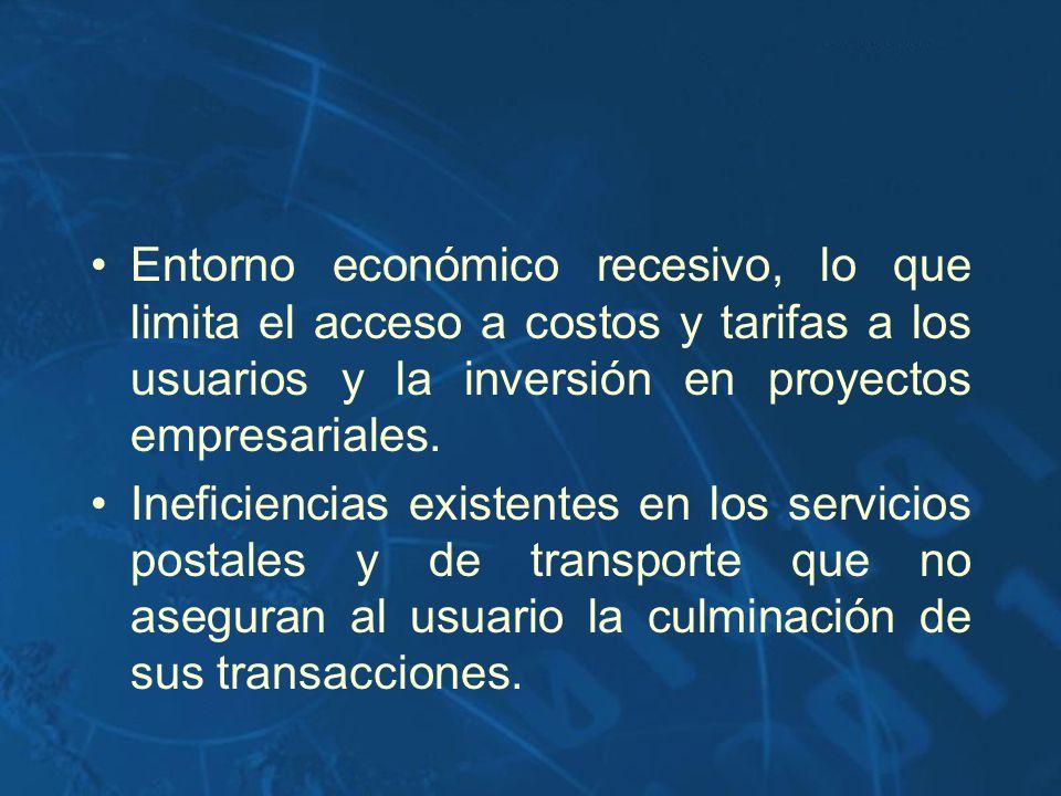 Entorno económico recesivo, lo que limita el acceso a costos y tarifas a los usuarios y la inversión en proyectos empresariales.