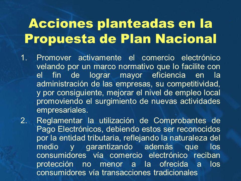Acciones planteadas en la Propuesta de Plan Nacional