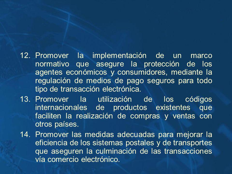 Promover la implementación de un marco normativo que asegure la protección de los agentes económicos y consumidores, mediante la regulación de medios de pago seguros para todo tipo de transacción electrónica.