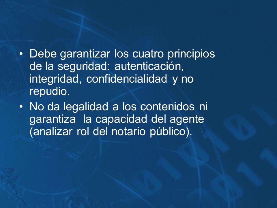 Debe garantizar los cuatro principios de la seguridad: autenticación, integridad, confidencialidad y no repudio.