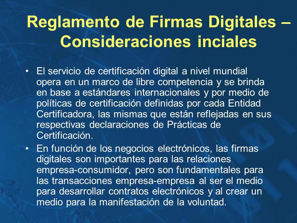 Reglamento de Firmas Digitales – Consideraciones inciales