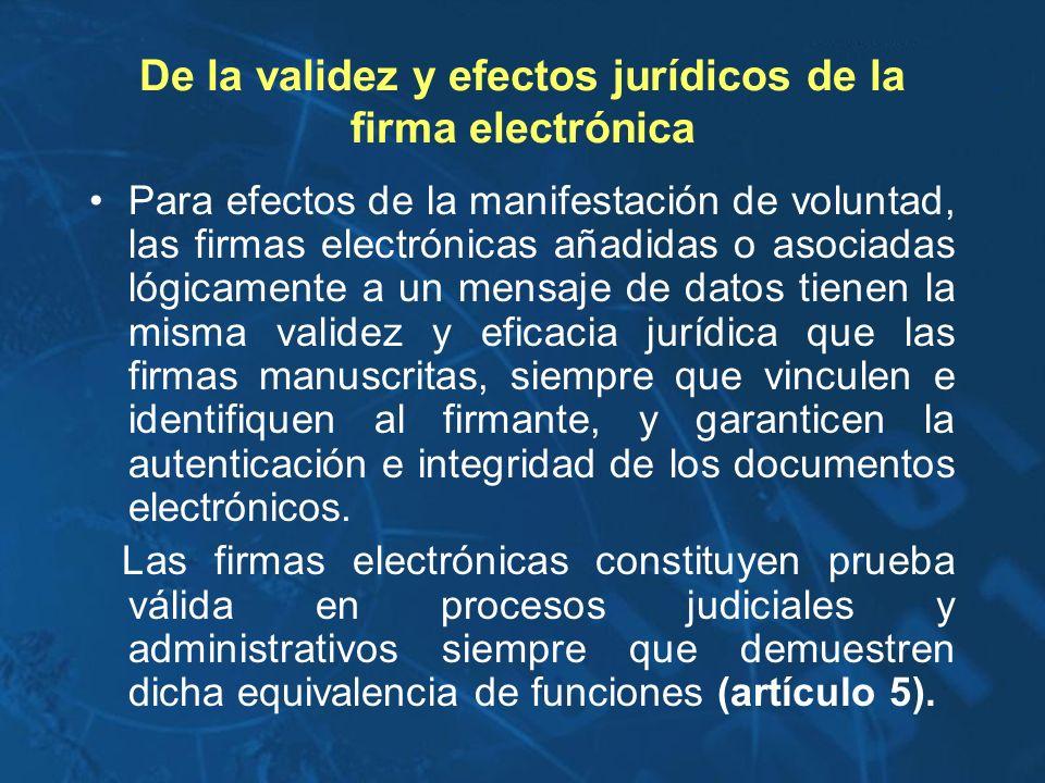 De la validez y efectos jurídicos de la firma electrónica