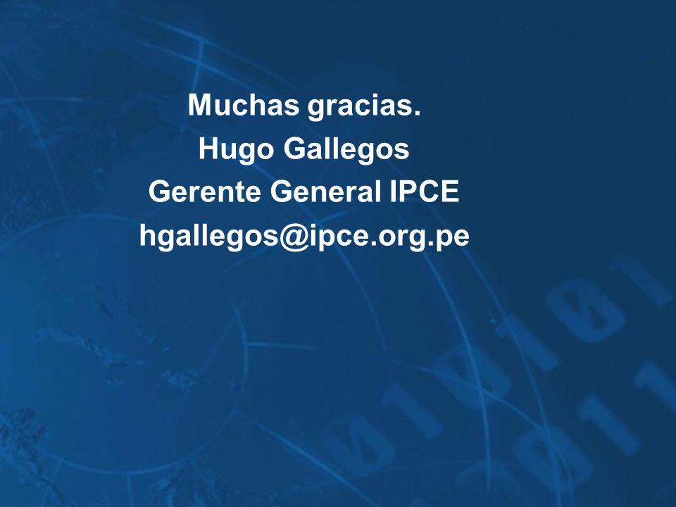 Muchas gracias. Hugo Gallegos Gerente General IPCE hgallegos@ipce.org.pe