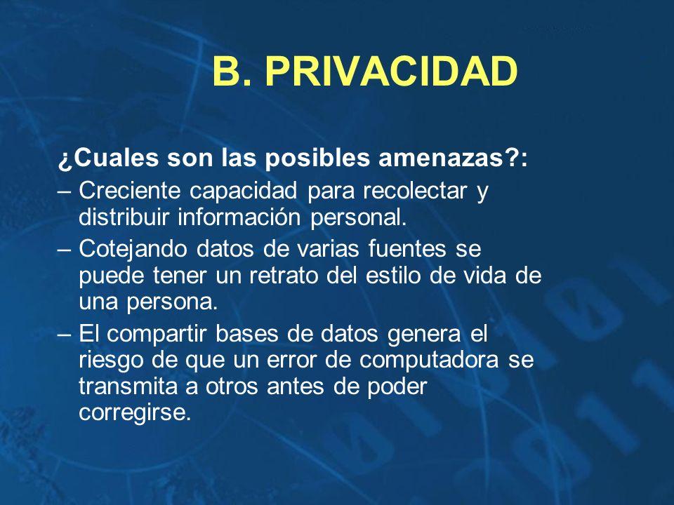 B. PRIVACIDAD ¿Cuales son las posibles amenazas :