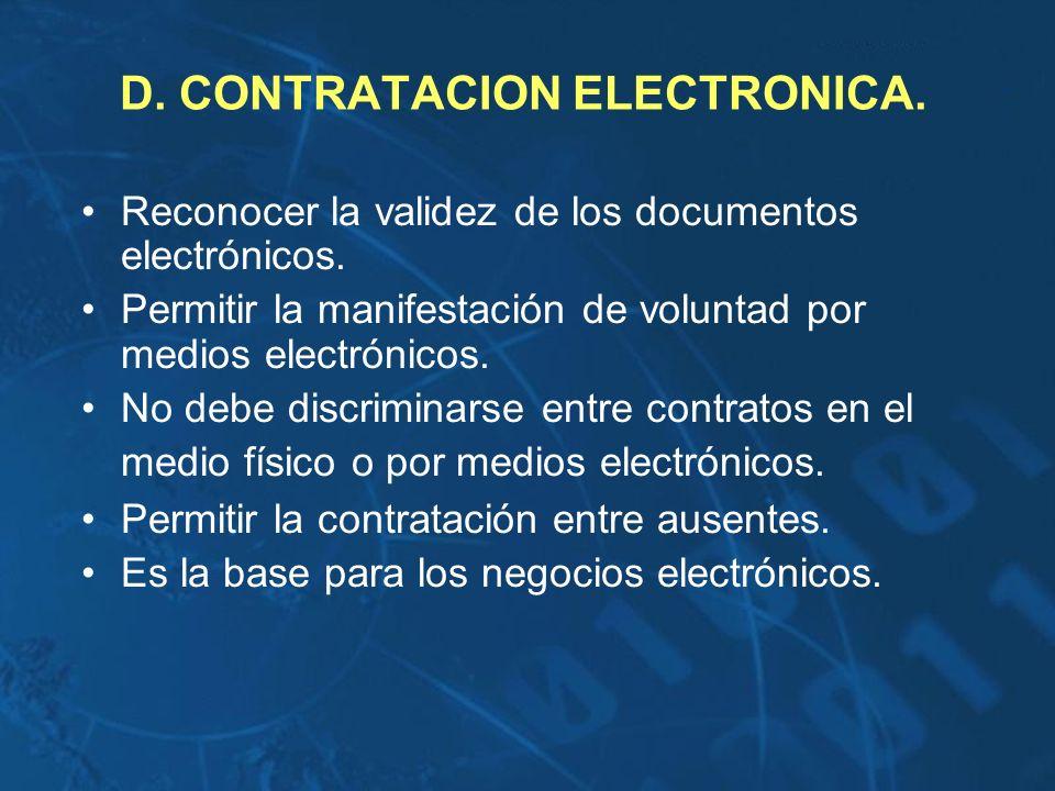 D. CONTRATACION ELECTRONICA.