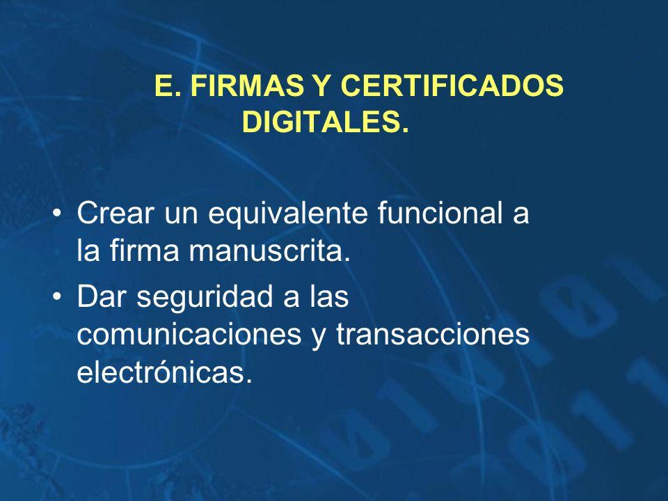 E. FIRMAS Y CERTIFICADOS DIGITALES.