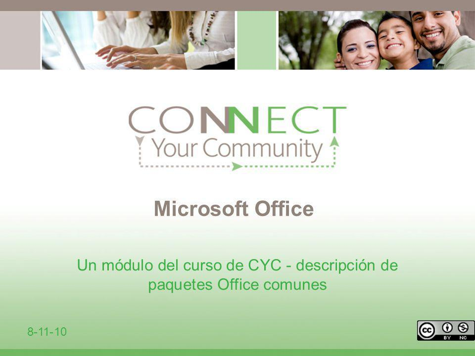 Un módulo del curso de CYC - descripción de paquetes Office comunes