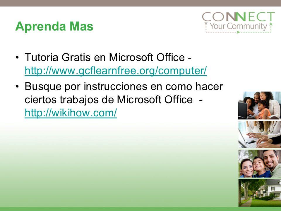 Aprenda Mas Tutoria Gratis en Microsoft Office - http://www.gcflearnfree.org/computer/