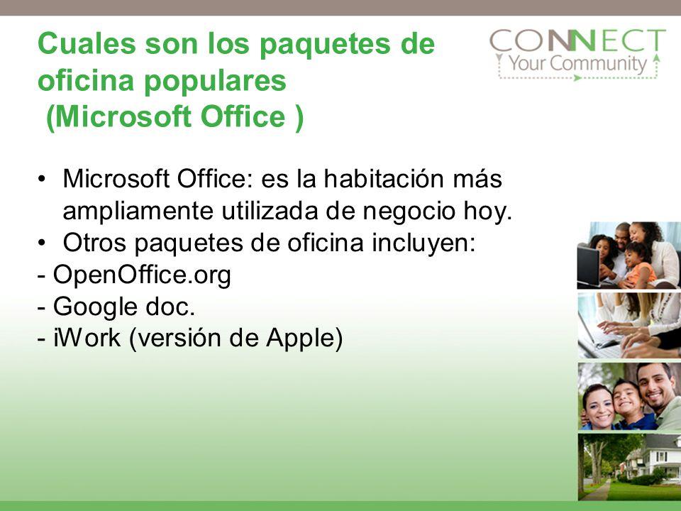 Cuales son los paquetes de oficina populares (Microsoft Office )