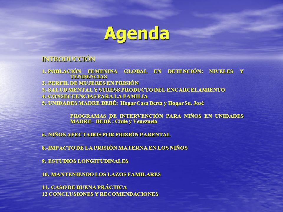 Agenda INTRODUCCIÓN. 1.-POBLACIÓN FEMENINA GLOBAL EN DETENCIÓN: NIVELES Y TENDENCIAS. 2.-PERFIL DE MUJERES EN PRISIÓN.