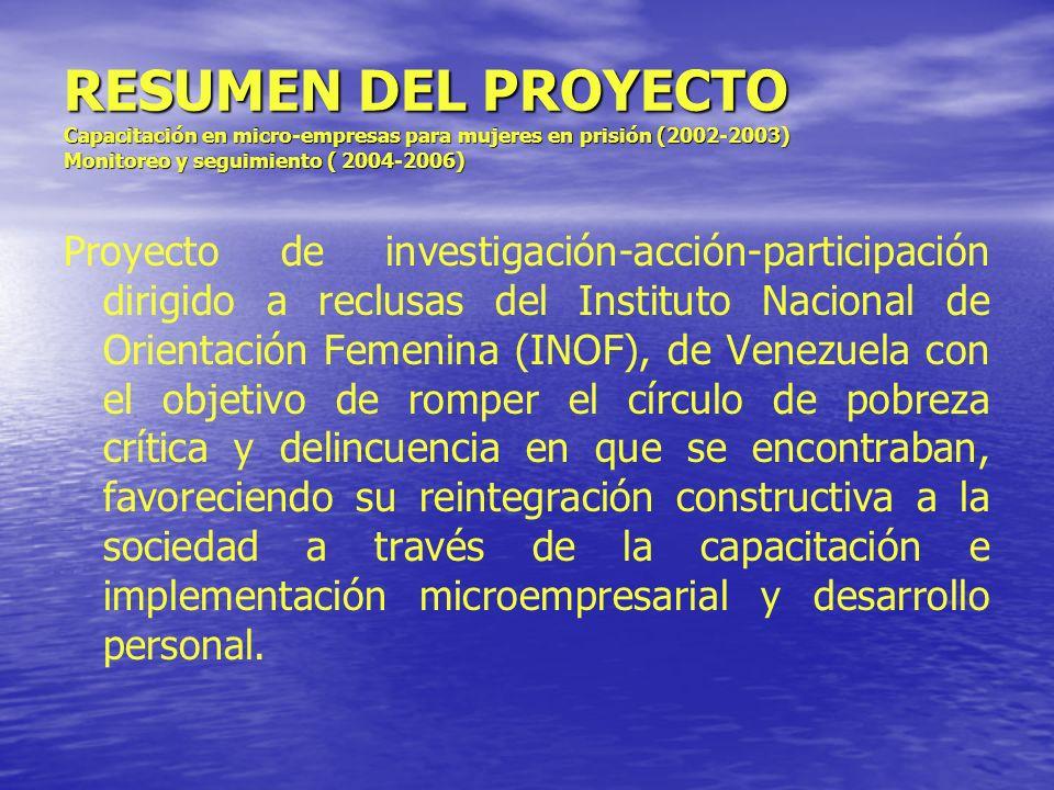 RESUMEN DEL PROYECTO Capacitación en micro-empresas para mujeres en prisión (2002-2003) Monitoreo y seguimiento ( 2004-2006)