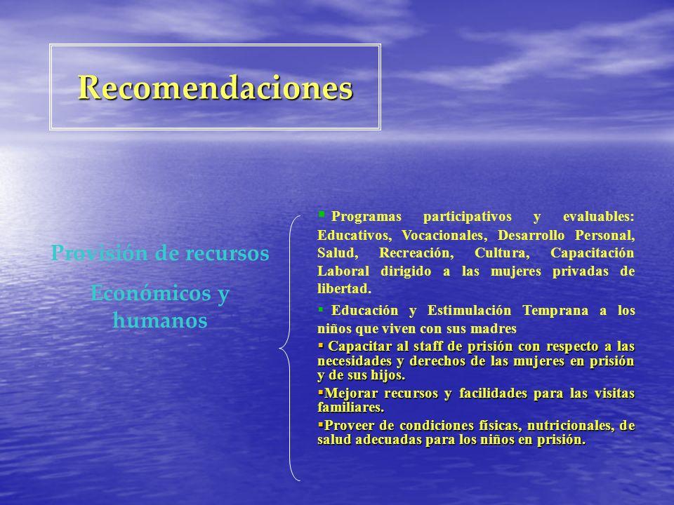 Recomendaciones Provisión de recursos Económicos y humanos