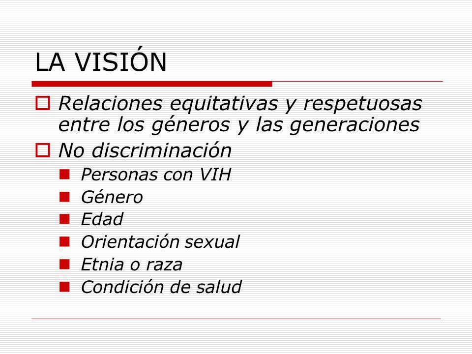LA VISIÓN Relaciones equitativas y respetuosas entre los géneros y las generaciones. No discriminación.