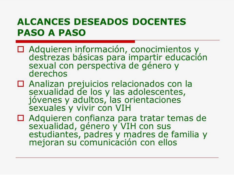 ALCANCES DESEADOS DOCENTES PASO A PASO