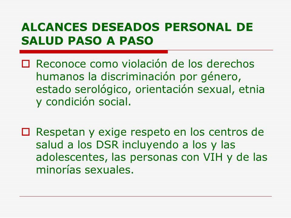 ALCANCES DESEADOS PERSONAL DE SALUD PASO A PASO