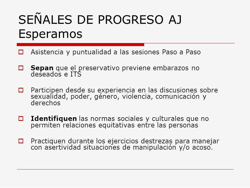 SEÑALES DE PROGRESO AJ Esperamos