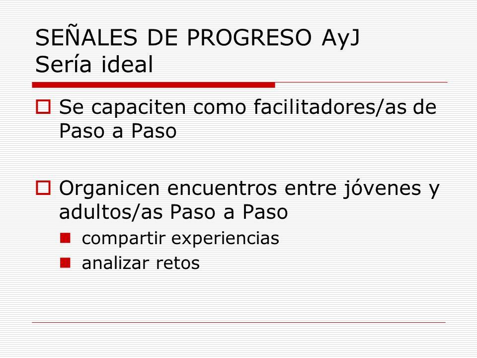 SEÑALES DE PROGRESO AyJ Sería ideal