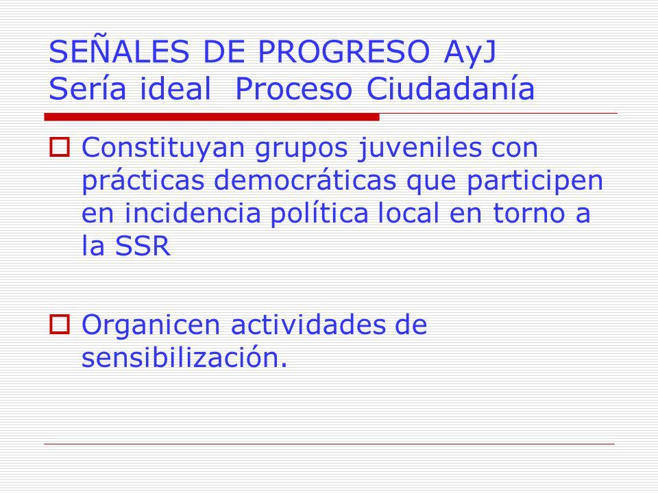SEÑALES DE PROGRESO AyJ Sería ideal Proceso Ciudadanía