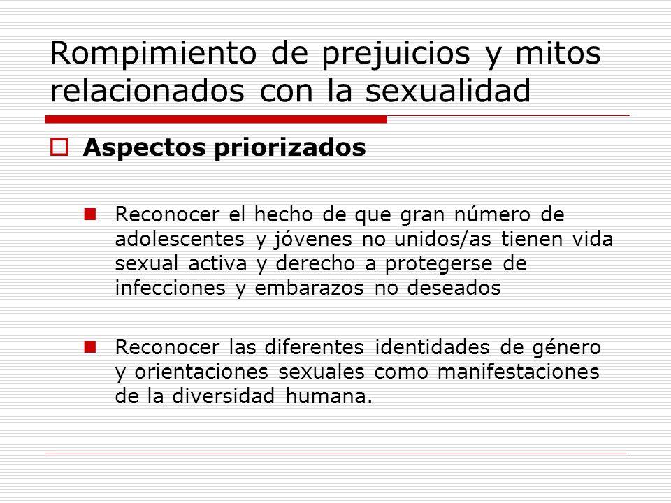 Rompimiento de prejuicios y mitos relacionados con la sexualidad