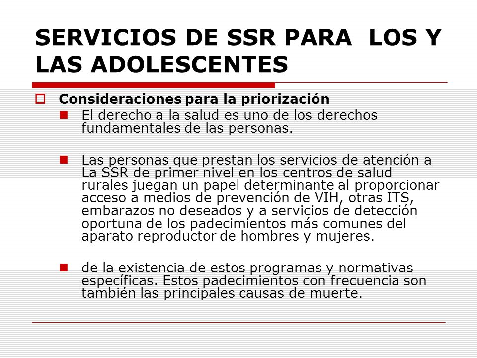 SERVICIOS DE SSR PARA LOS Y LAS ADOLESCENTES