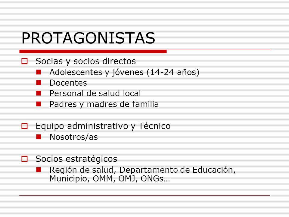 PROTAGONISTAS Socias y socios directos Equipo administrativo y Técnico
