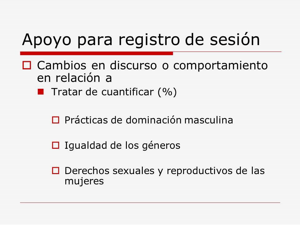 Apoyo para registro de sesión
