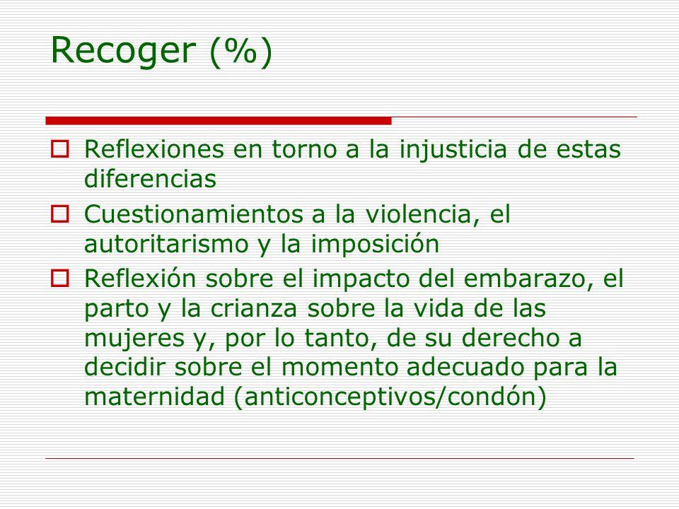 Recoger (%) Reflexiones en torno a la injusticia de estas diferencias