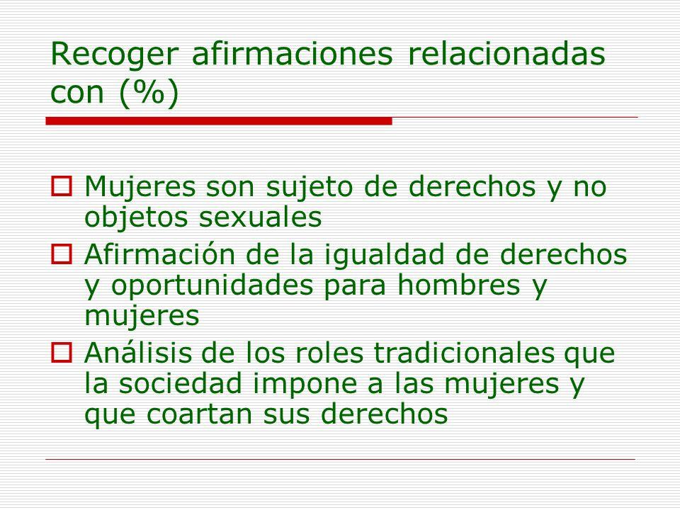 Recoger afirmaciones relacionadas con (%)