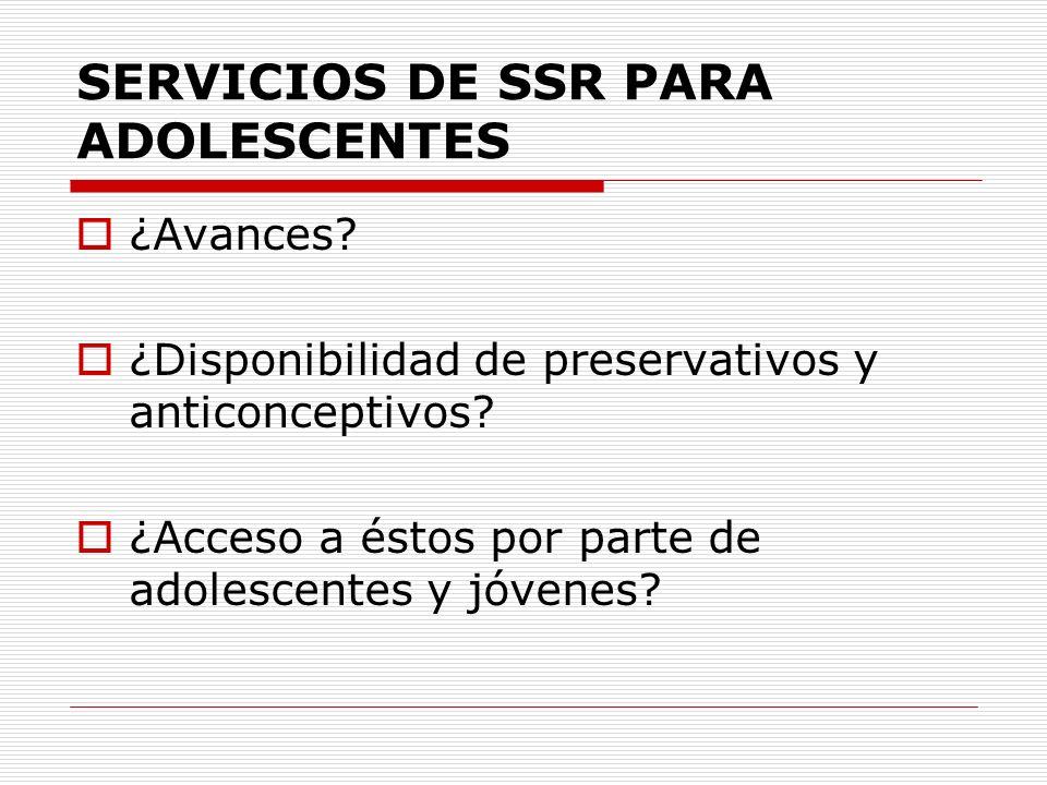 SERVICIOS DE SSR PARA ADOLESCENTES