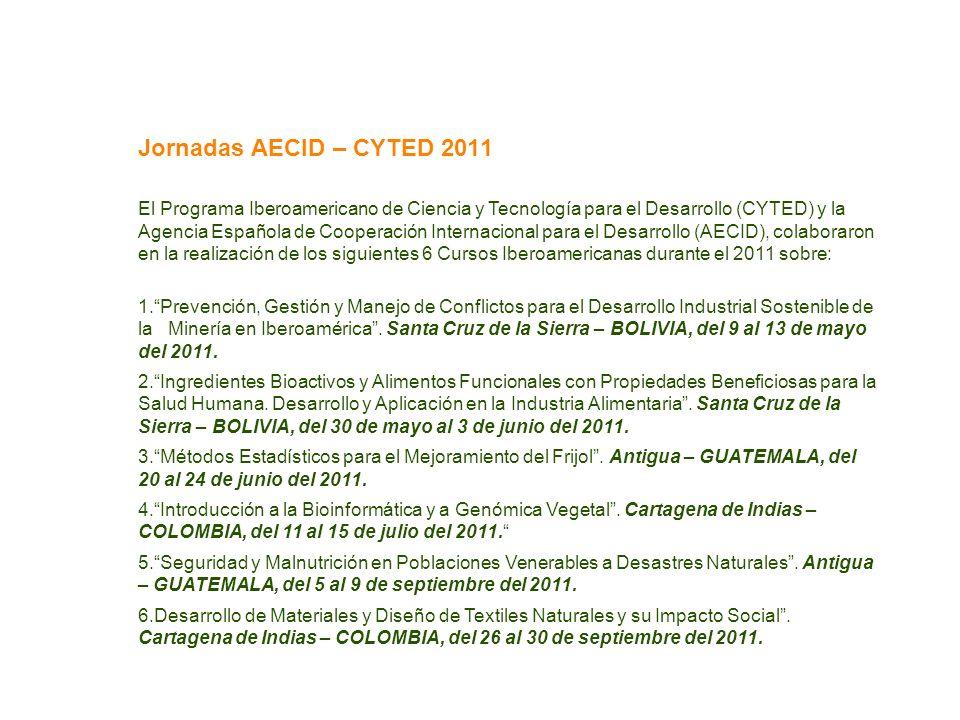 Jornadas AECID – CYTED 2011