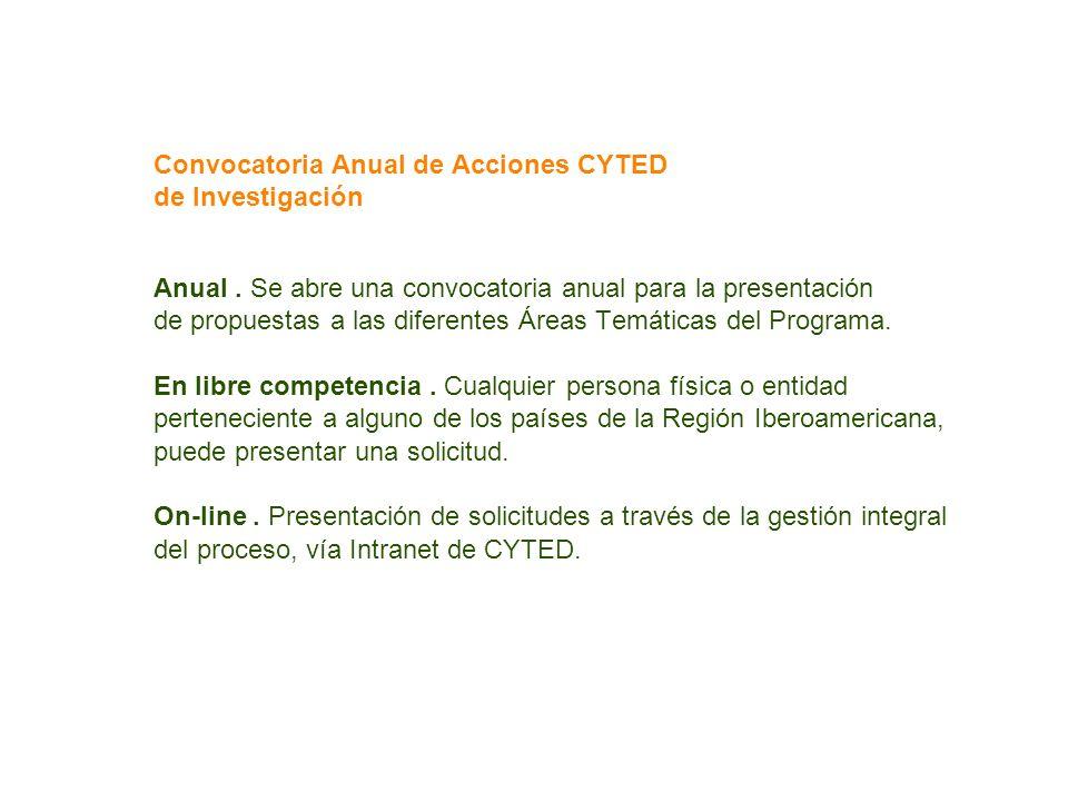 Convocatoria Anual de Acciones CYTED de Investigación