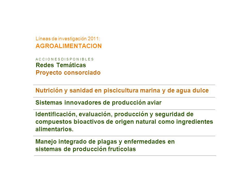 Líneas de investigación 2011: AGROALIMENTACION