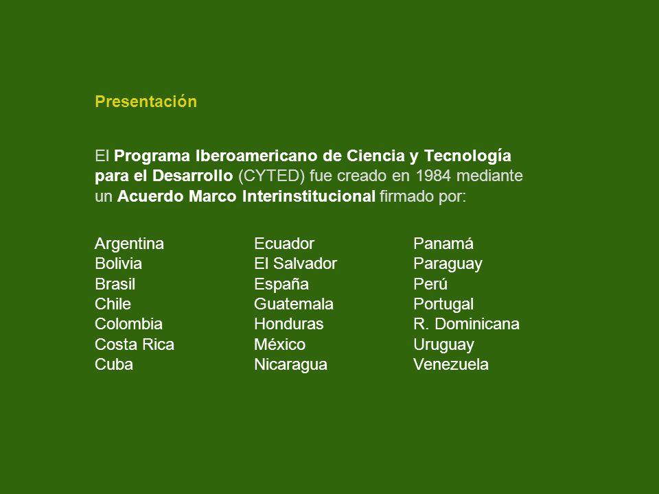 Presentación El Programa Iberoamericano de Ciencia y Tecnología. para el Desarrollo (CYTED) fue creado en 1984 mediante.