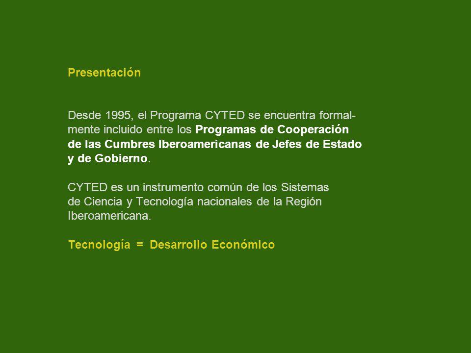 Presentación Desde 1995, el Programa CYTED se encuentra formal- mente incluido entre los Programas de Cooperación.