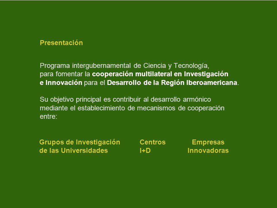 PresentaciónPrograma intergubernamental de Ciencia y Tecnología, para fomentar la cooperación multilateral en Investigación.