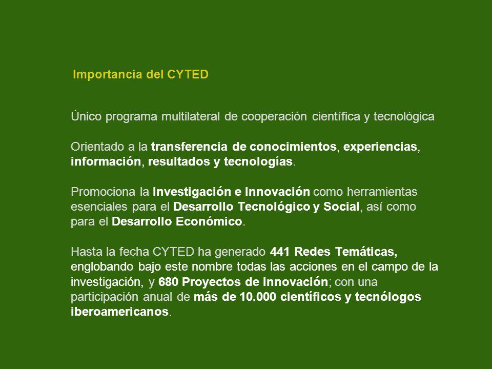 Importancia del CYTED Único programa multilateral de cooperación científica y tecnológica.