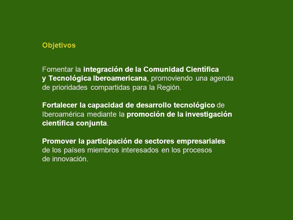 ObjetivosFomentar la integración de la Comunidad Científica. y Tecnológica Iberoamericana, promoviendo una agenda.