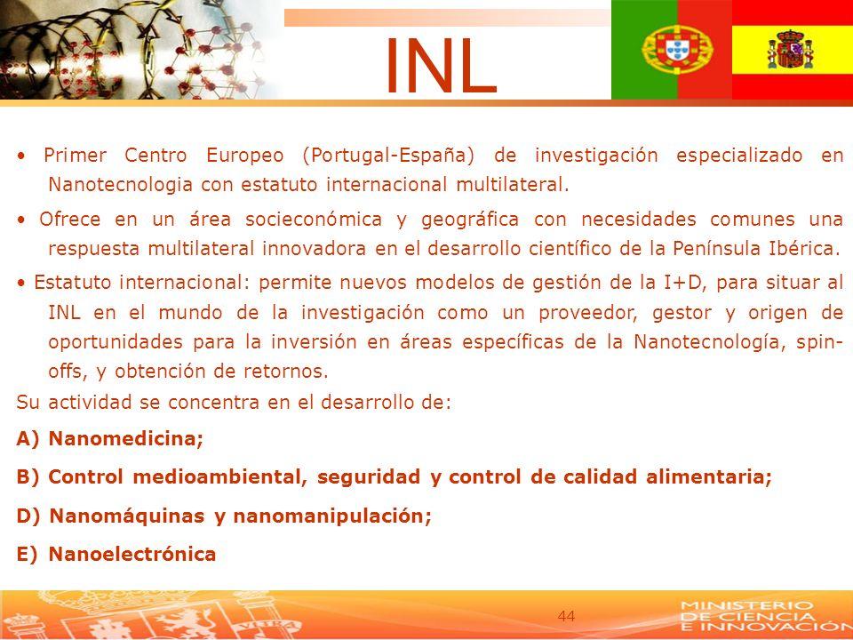 INL • Primer Centro Europeo (Portugal-España) de investigación especializado en Nanotecnologia con estatuto internacional multilateral.