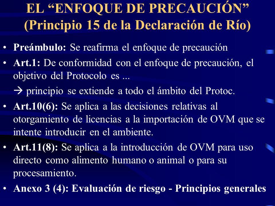 EL ENFOQUE DE PRECAUCIÓN (Principio 15 de la Declaración de Río)