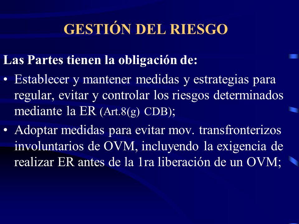 GESTIÓN DEL RIESGO Las Partes tienen la obligación de: