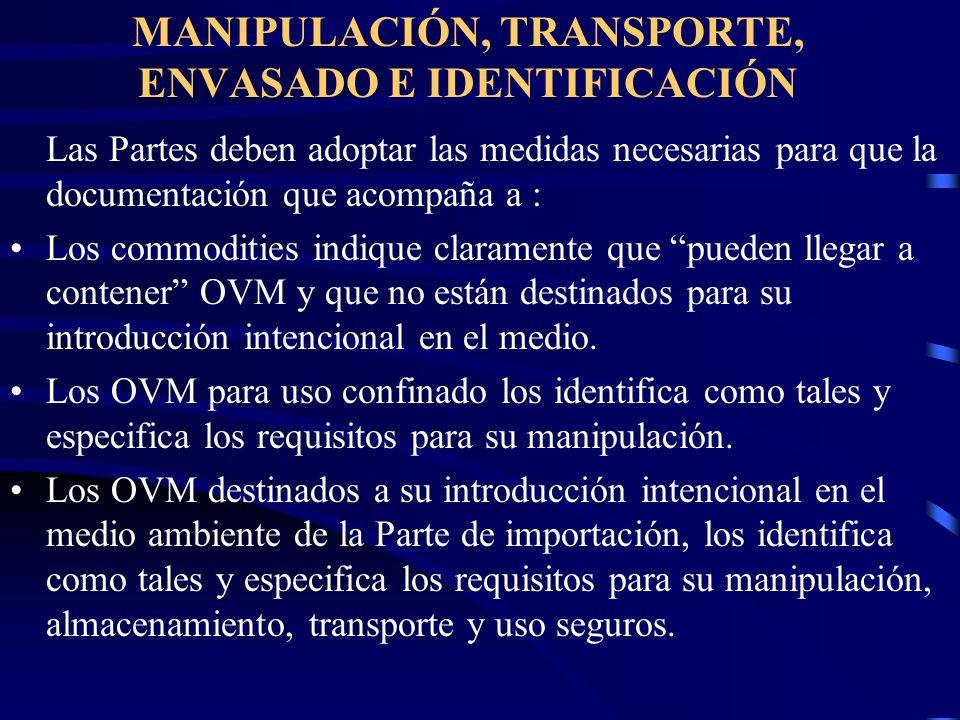 MANIPULACIÓN, TRANSPORTE, ENVASADO E IDENTIFICACIÓN
