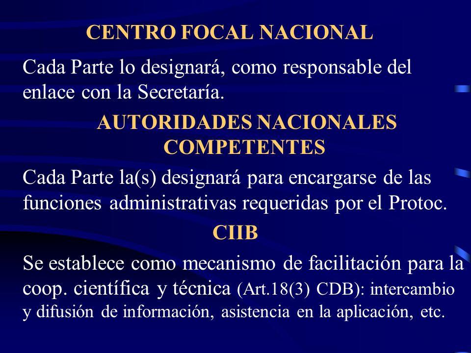 AUTORIDADES NACIONALES COMPETENTES