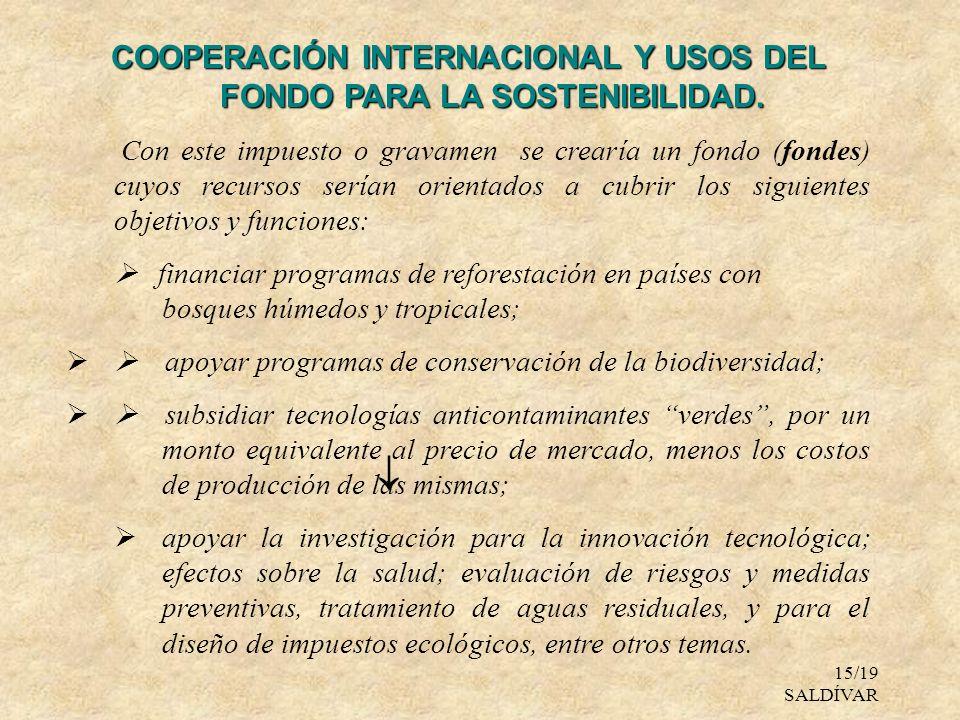 COOPERACIÓN INTERNACIONAL Y USOS DEL FONDO PARA LA SOSTENIBILIDAD.
