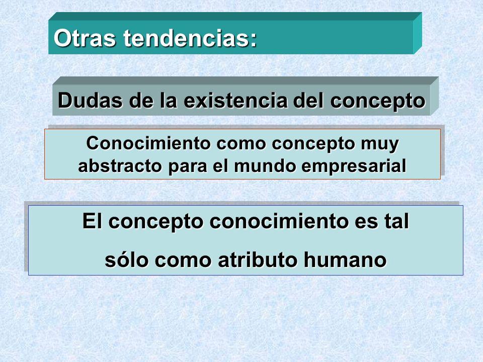 Otras tendencias: Dudas de la existencia del concepto