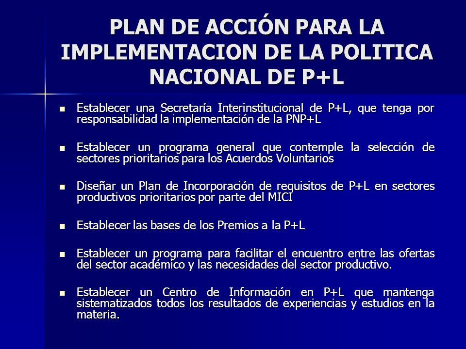 PLAN DE ACCIÓN PARA LA IMPLEMENTACION DE LA POLITICA NACIONAL DE P+L